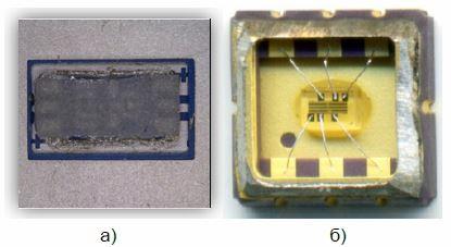 Рис. 4. а) ПАВ фильтр, установленный по техноло- гии «Flip-Chip». б) ПАВ фильтр, установленный по технологии «Chip on Board».