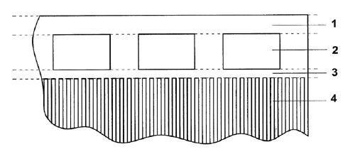 Вид структуры с просветляющими окнами для локализации ПАВ в границах апертуры: 1,3 – шина, 4 – электродная структура ВШП, 2 – окно