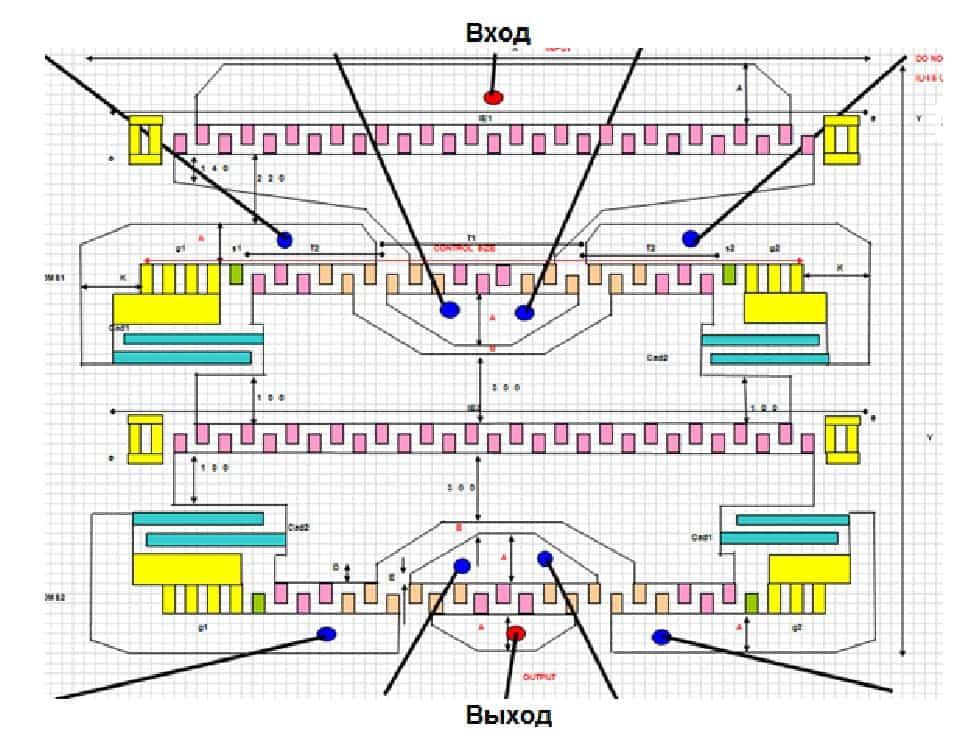 Топология комбинированного фильтра Ф1-2на номинальную частоту 216МГц