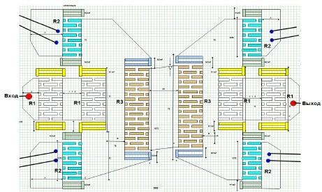 Топология фильтра Ф4 на номинальную частоту 2170 МГц
