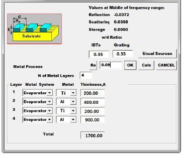 Параметры пленки для расчета лестничного СВЧ фильтра Ф4 на номинальную частоту 2170 МГц