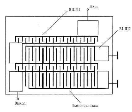 Рис.3. Импедансный фильтр на ПАВ.