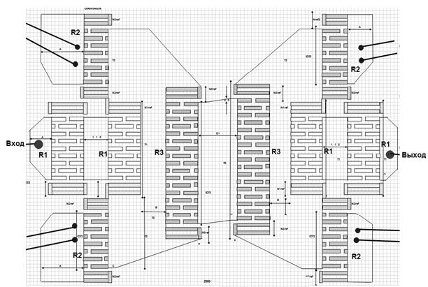 Рис.11. Структурная схема импедансного фильтра на номинальную частоту 2170 МГц с высокой входной мощностью